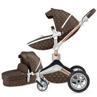 Популярная Роскошная детская коляска 2 в 1, модная и высокая прогулочная коляска, бесплатная доставка