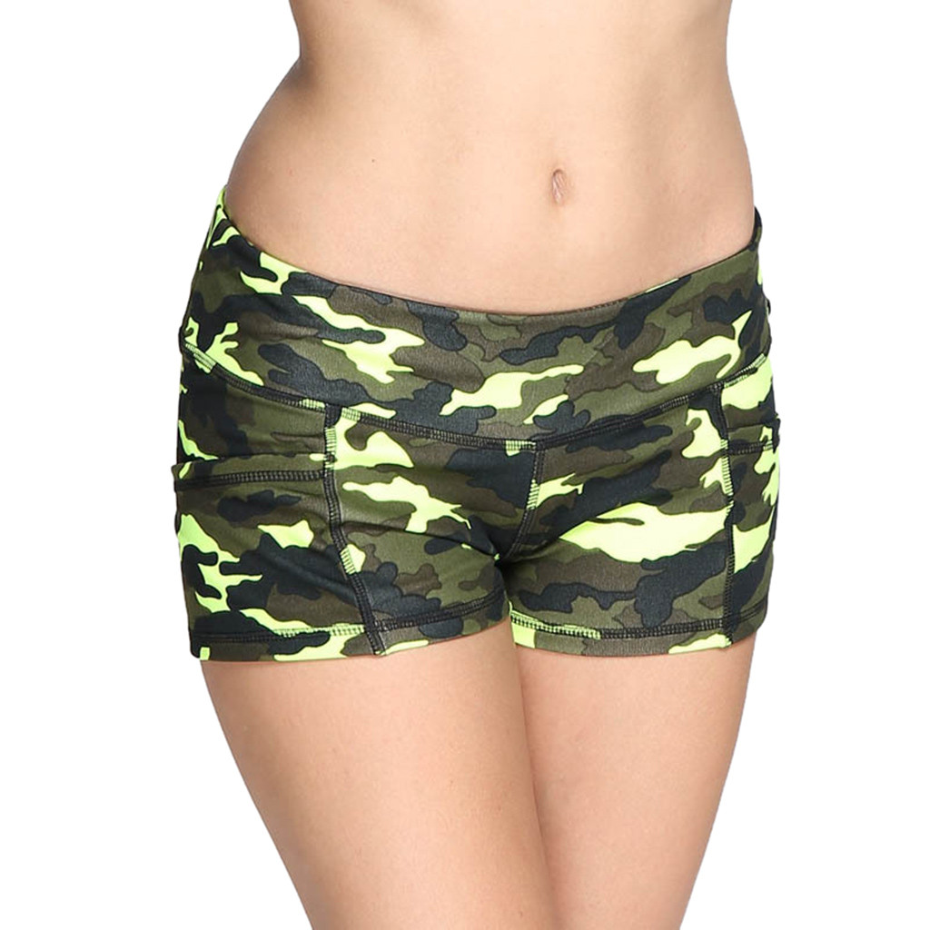 Sexy Mini Shorts Women's Shorts Camouflage Print Athletic Summer Sports Pant 2019 Women Elastic Waist Short Pants Fitness Shorts(China)