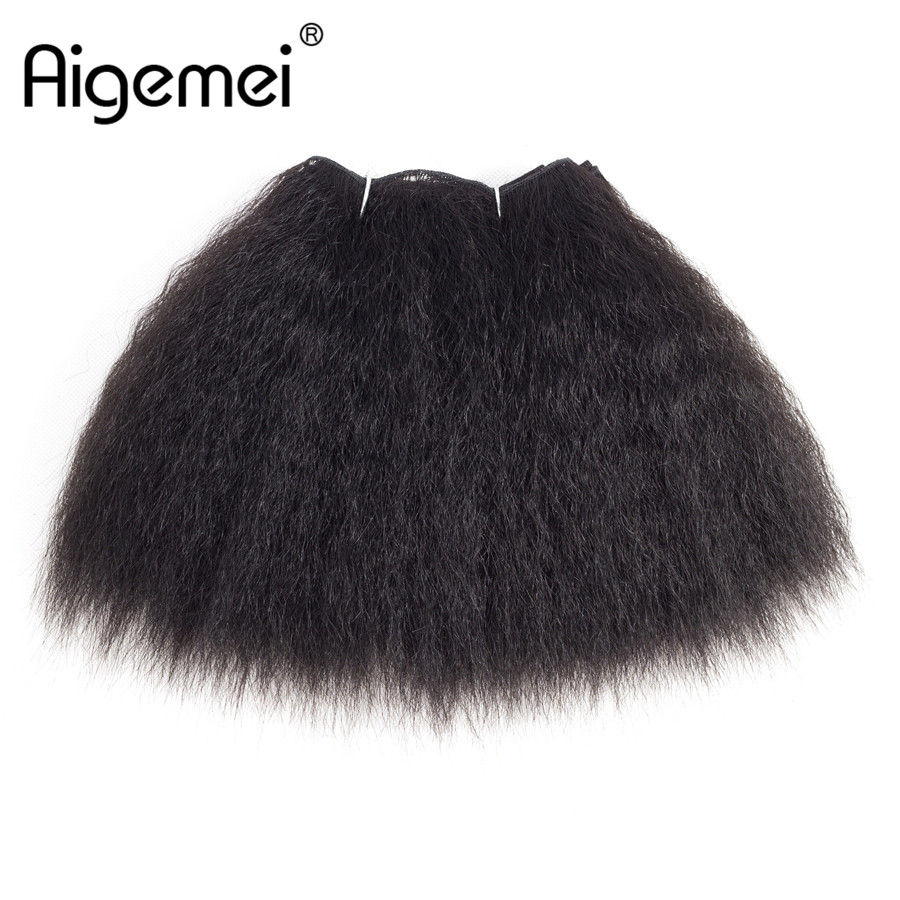 Aigemei 8 дюймов 14 дюймов Kanekalon странный прямые короткие Weave Связки Швейные черный синтетический волос жаропрочных волокна утки ...