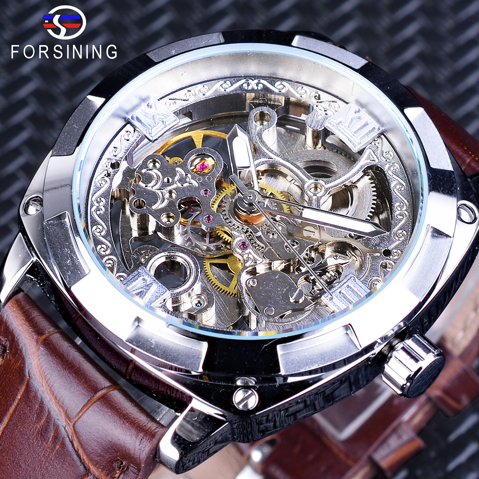 Forsining New Silver Skeleton Clock Brown Genuine Leather Water Resistant Automatic Self-winding Watches for Men relojes hombreForsining New Silver Skeleton Clock Brown Genuine Leather Water Resistant Automatic Self-winding Watches for Men relojes hombre