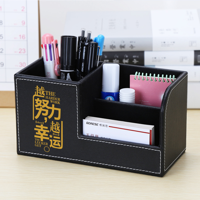 Kingfom Customized Desk Organizer Black Cute Chinese Inspirational Or Blessing Words Pen Pencil Holder 3 Pattern Storage Box