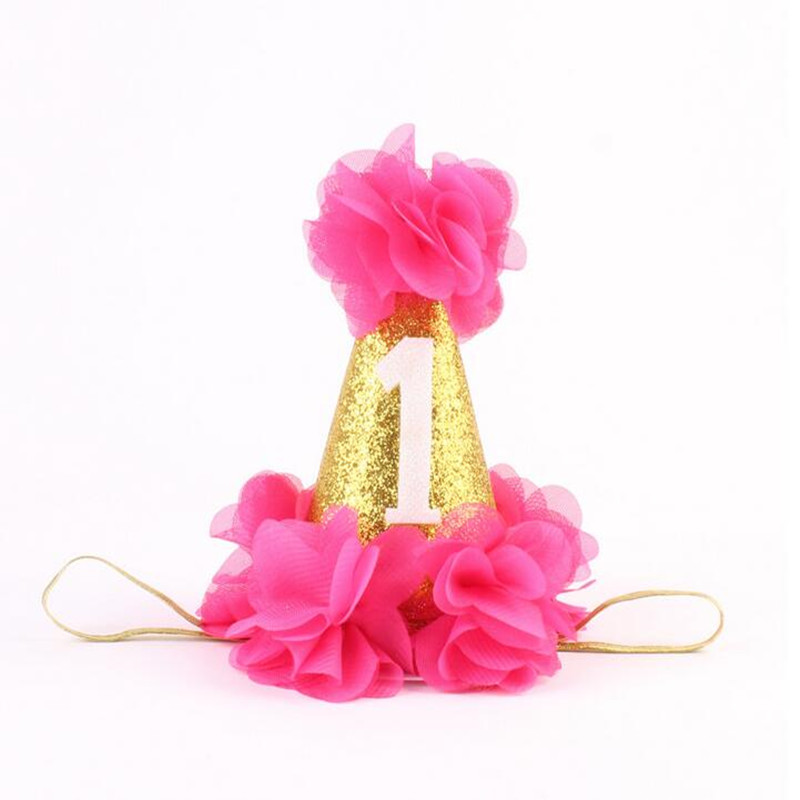 Fashion 1st Brithday Hat Fushia Glitter First Birthday Party Hat Cake Smash Flower Birthday Girls Hat Baby Girls Gold Crown