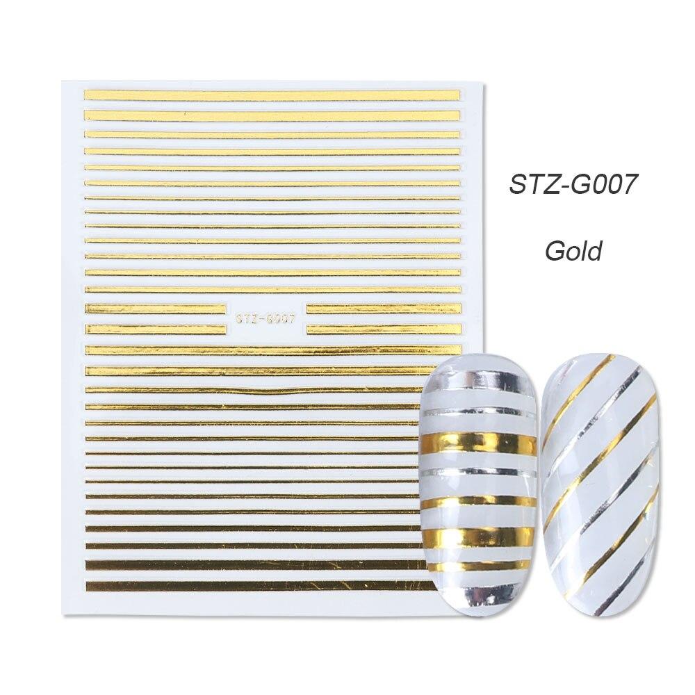 1 шт золотые Серебристые 3D наклейки для ногтей прямые изогнутые вкладыши полосы ленты обертывания геометрический дизайн ногтей украшения BESTZG001-013 - Цвет: STZ-G007 Gold