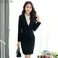 Black Women Skirt Suits Elegant Vintage Autumn Formal Wear To Work Business Skirt Suits Slim Female Office Uniform Ladies Suits