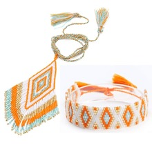 Go2hobo MIYUKI Bracelet Jewelry Sets Boho Necklace Pendant Women Handmade Jewelry Set Pulseras Tassel Delica Beads Wedding Gift цены