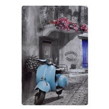 "[ Live Wall Art ] metal painting ""Blue Motorcycle ""vintage home wall decor Tin signs metal plaques bar wall art craft 20X30CM"