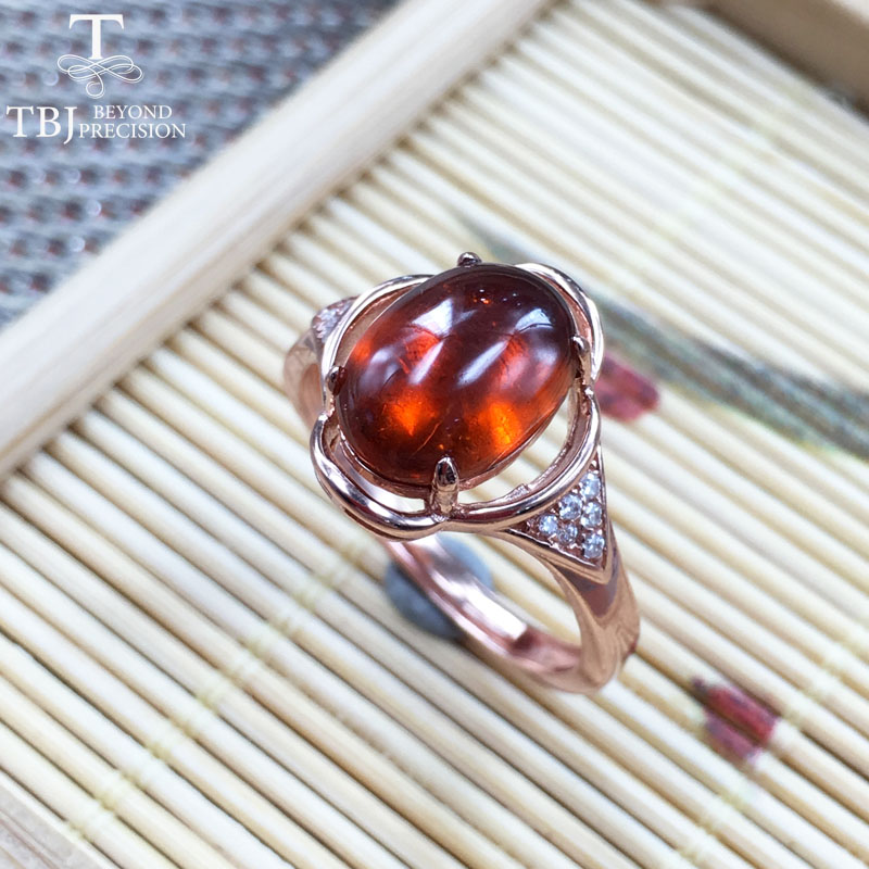 TBJ,new simple ring with fenda color spessartine garnet gemstone Ring in 925 sterling silver rose color fine jewelry for women tbj delicate small ring with natural good color blue tanzanite gemstone lady ring in 925 sterling silver fine jewelry for women