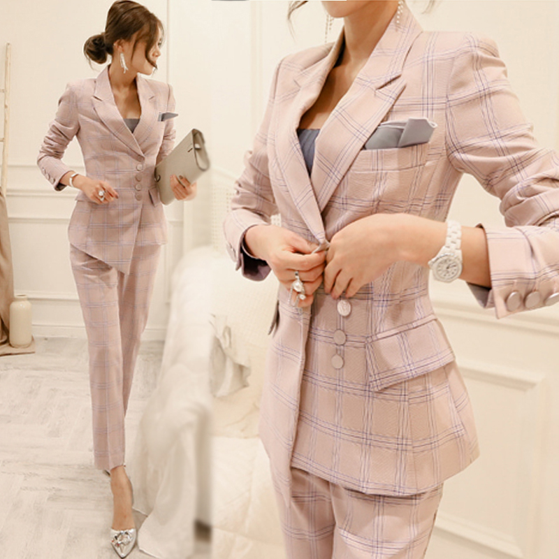 7ac877a269041 US $51.73 30% OFF|Office worker plaid suit suit female 2018 spring and  autumn new Korean fashion retro professional suit two sets TB18404 -in Pant  ...