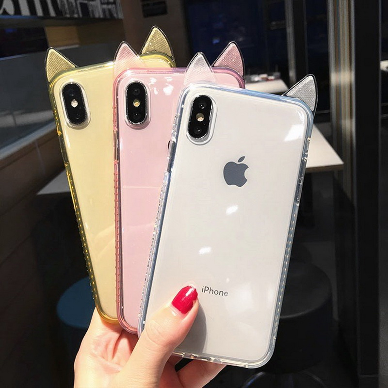 Cute <font><b>Cat</b></font> Ear Bling Glitter Diamond <font><b>Case</b></font> For <font><b>iPhone</b></font> X XR XS Max 6 6s 7 <font><b>8</b></font> Plus Slim Transparent Soft Silicon Shockproof Back Cover image