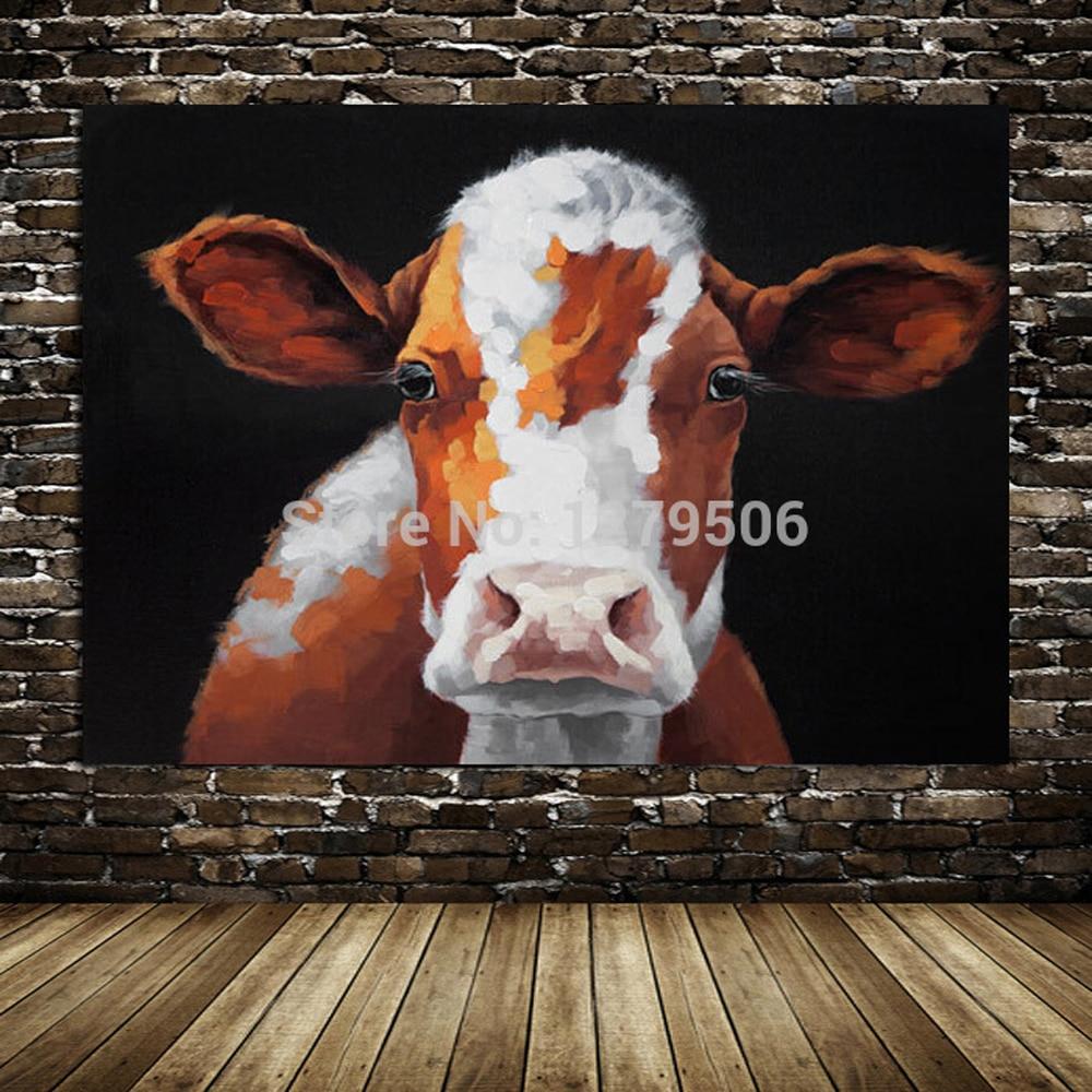 Fait à la main moderne belle vache abstraite toile peinture décorative belle image animale peinture à l'huile mur Art pour salon