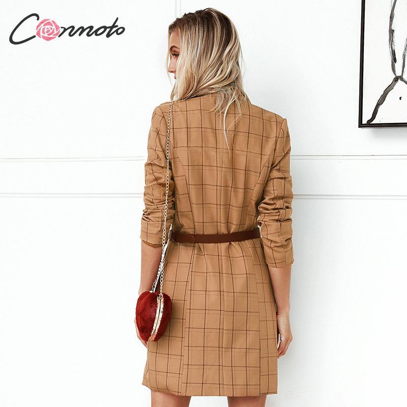 Image 5 - Conmoto Vintage Khaki Plaid Women Blazer Dress 2019 Autumn Winter Slim Long Blazer Check Office Blazer Jacket Feminino OuterwearBlazers   -