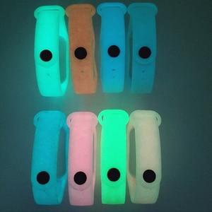 Image 5 - Светящийся силиконовый ремешок BOORUI для Miband 3, регулируемый цветной ремешок на запястье, замена для смарт браслетов xiaomi mi 3