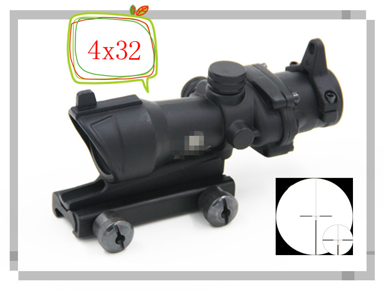 Здесь можно купить   Tactical 4x32 Triji Style Crosshair Rifle Scope Optics with Lron Sights 20mm Weaver Picatinny Rail Mounts For Hunting Riflescope Спорт и развлечения