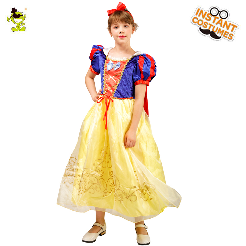Girl's Deluxe Snow White Costume Fairytale Snow Princess Cosplay Kids Snow White Dress Party Halloween Party