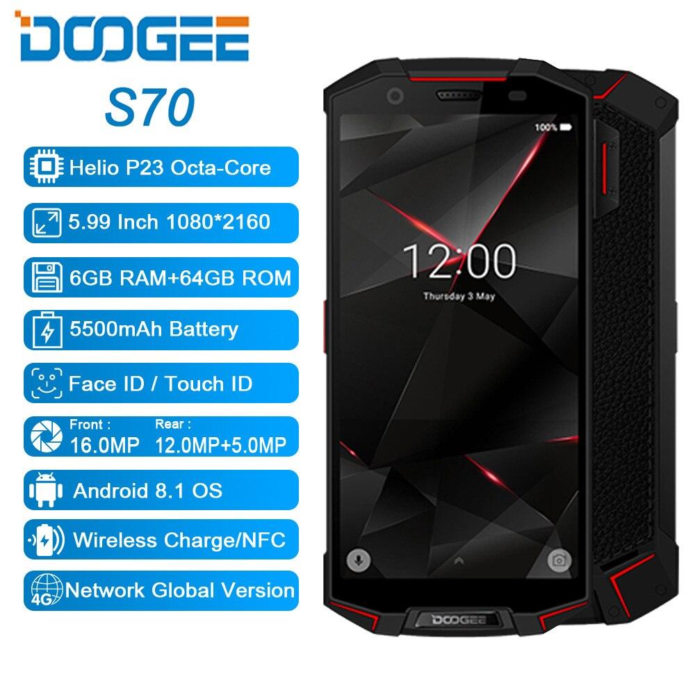 """DOOGEE S70 6 ギガバイト 64 ギガバイトグローバルデュアル 4 グラム IP68 ゲーム電話アンドロイド 8.1 5.99 """"エリオ P23 オクタコア 16MP 5500 7000mah ワイヤレス充電スマートフォン  グループ上の 携帯電話 & 電気通信 からの 携帯電話 の中 2"""