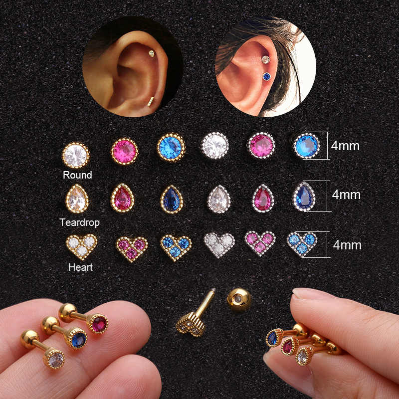 Feelgood Blue Pink Cz Round Teardrop Heart Helix Piercing Jewelry Small Cartilage Earring Tiny Tragus Conch Rook Ear Lobe Stud