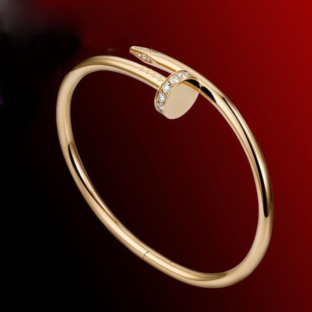Hot Sale Stainless Steel Carter Nail Bangle Bracelet 18K Gold Plated Screw Bangle Jewelry Pulseiras Femininas 180191