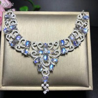 Natural blue moonstone luxury large necklace, made of 925 silver, each crystal is clean, blue light is strong