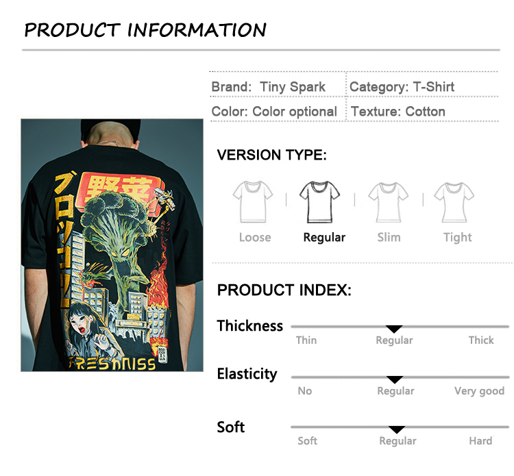 HTB1Qa0KazLuK1Rjy0Fhq6xpdFXax - Men Hip Hop T Shirt Japanese Harajuku Cartoon Monster T-Shirt Streetwear Summer Tops Tees Cotton Tshirt Oversized HipHop