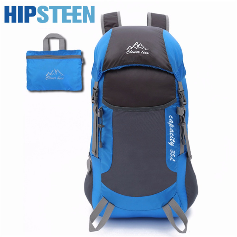 HIPSTEEN Men Women Travel Bags Large Capacity Lightweight Foldable Daypack High-End Folding Backpack Travel Backpack Bag Hot Hot ultra lightweight packable backpack water resistant daypack small backpack handy foldable backpack double shoulder bag