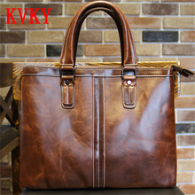2016 Autumn Winter Fashion Briefcase High Quality Men Leather Handbags Vintage Travel Shoulder Bag Business Messenger Tote Bags