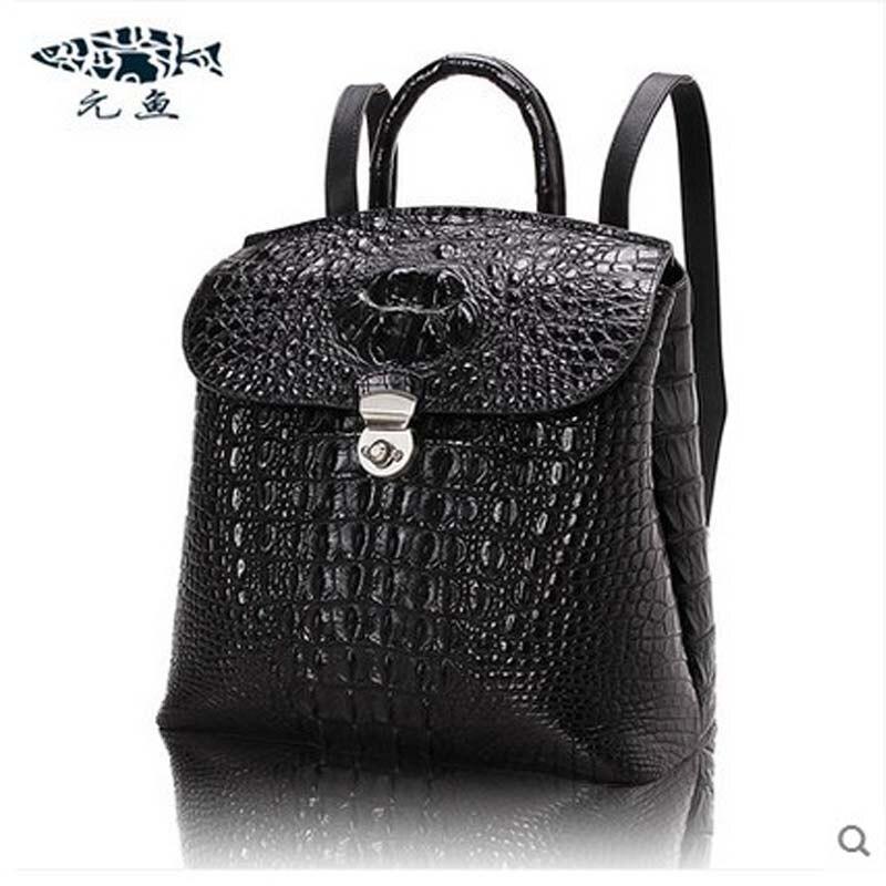 yuanyu 2018 new crocodile Backpacks leather backpack lady crocodile skin bags leisure female bag yuanyu new lady real crocodile women clutches real leather bag long crocodile leather hand bag lady clutches