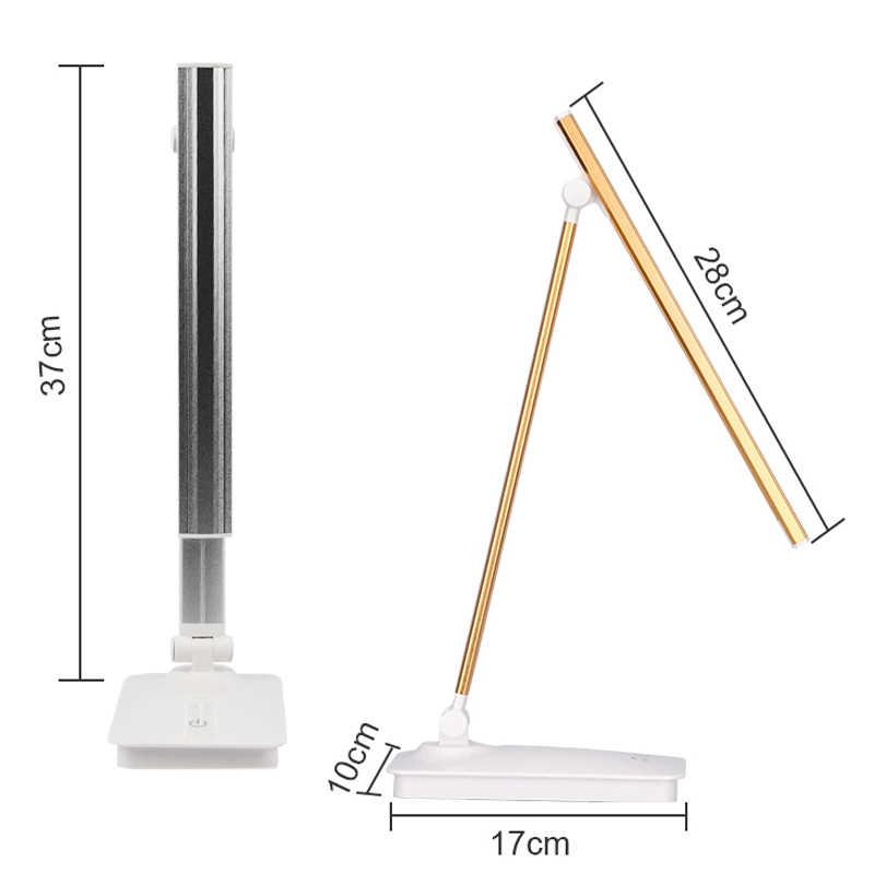 LED שולחן מנורת עין-אכפתיות שולחן מנורות Dimmable משרד מנורת עם USB טעינת נמל 3 בהירות רמות מגע שליטה לבן 5W