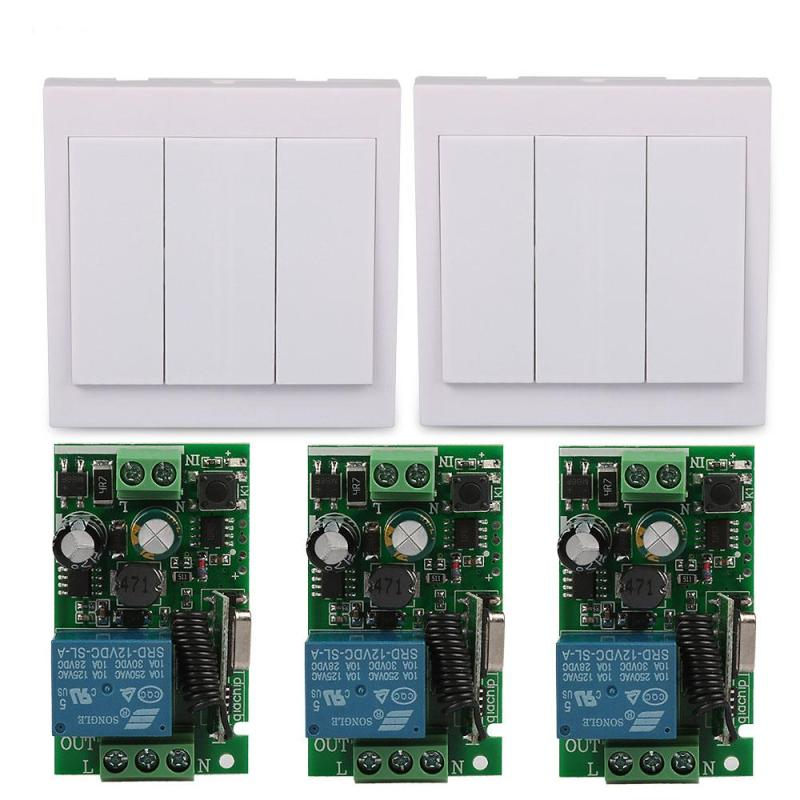 3 Gang Panel Wall Light Transmitter 433 MHz RF Switch with 220V 1 CH Relay Receiver Module Wireless Remote Control Diy Switch smart home uk standard crystal glass panel wireless remote control 1 gang 1 way wall touch switch screen light switch ac 220v