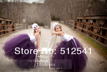 Purple and White Bandage Flower Girl Dresses 2014 Ball Gown Halter Organza Floor Length Custom made gowns yk8R198