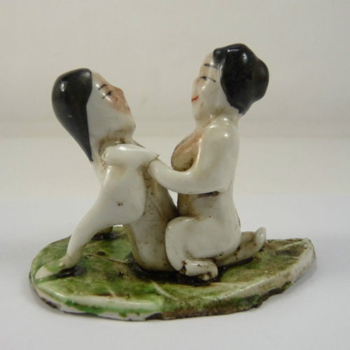 Interesting collectable old superb Chinese handwork porcelain boy girl statue ...