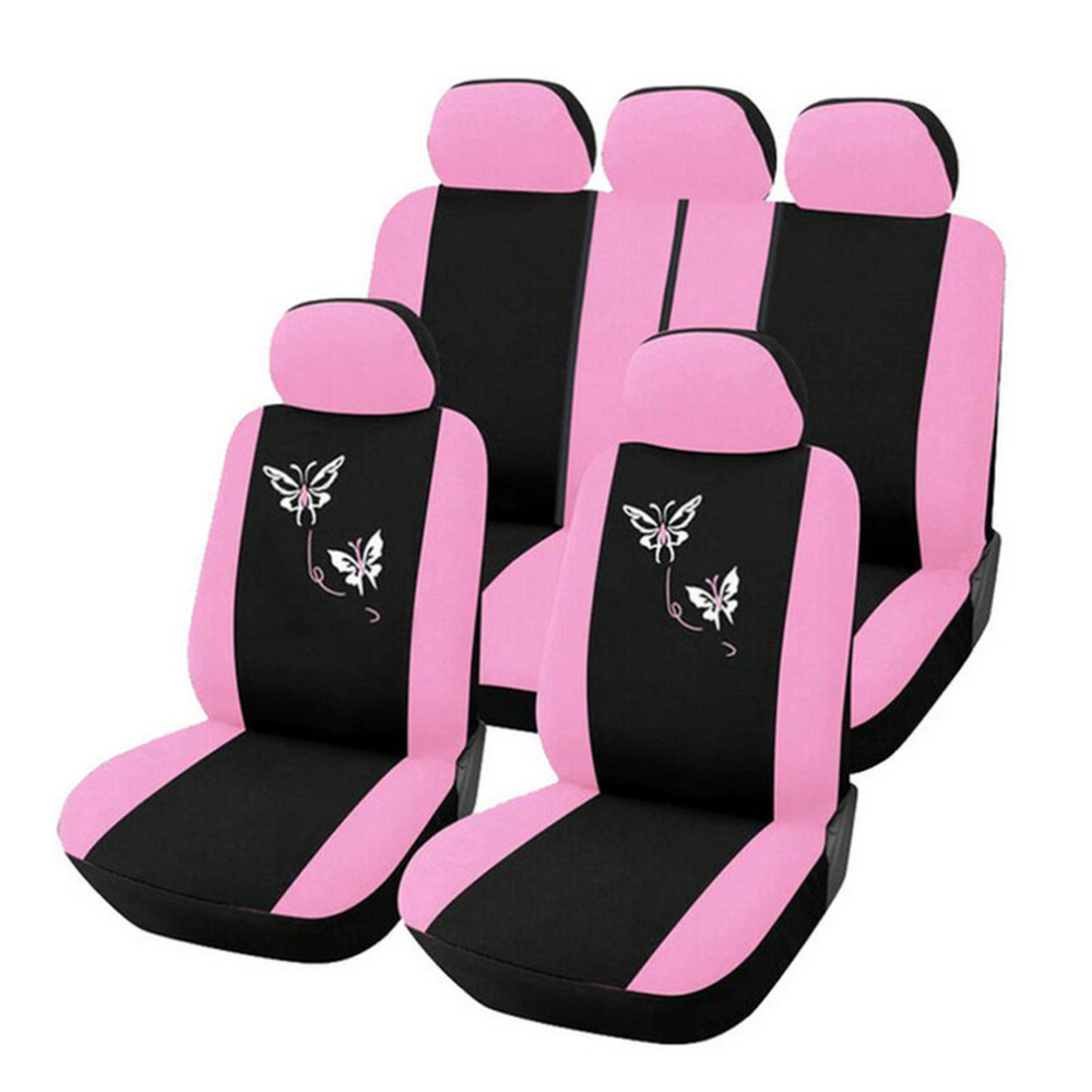 Newest Universal Car-styling 1 Sets Butterfly Fashion Style Front Rear Universal Car Seat Covers Luxury Cute Pink Hot Selling