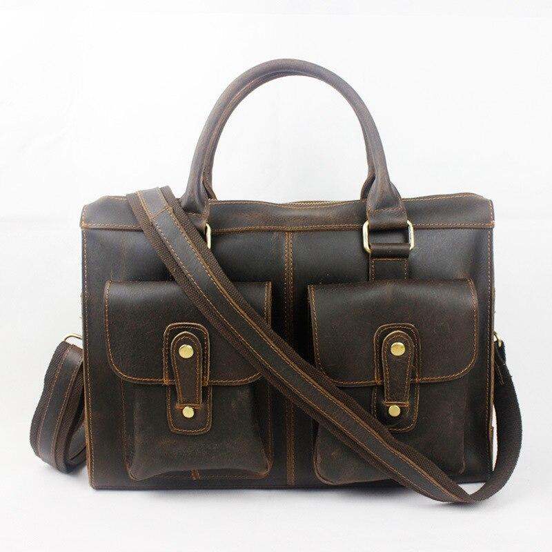YISHEN Fashion Retro Genuine Leather Men Handbags Totes Business Male Briefcase Shoulder Crossbody Bags Messenger Bags MLT8819