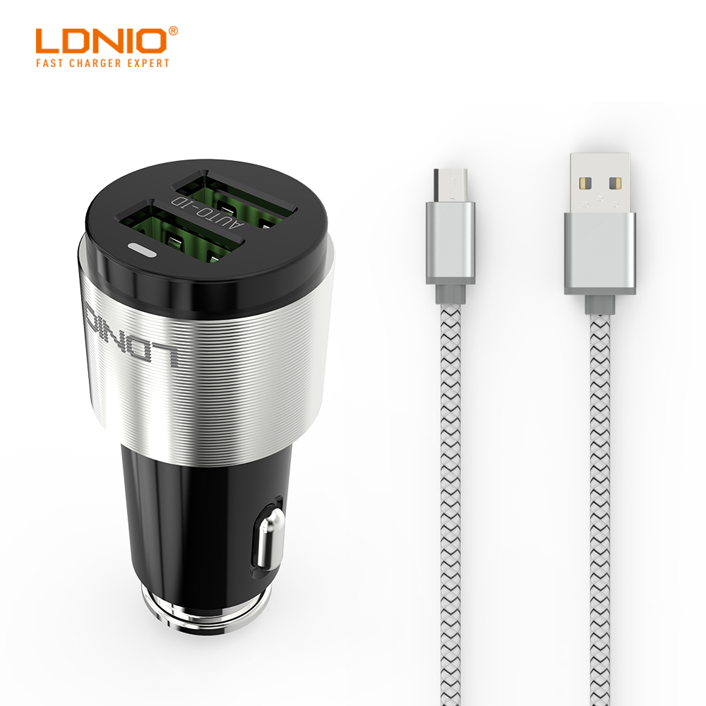 LDNIO C403 USB Phone Car Charger 4.2A Dual USB With 1000mm Micro USB Cable For C