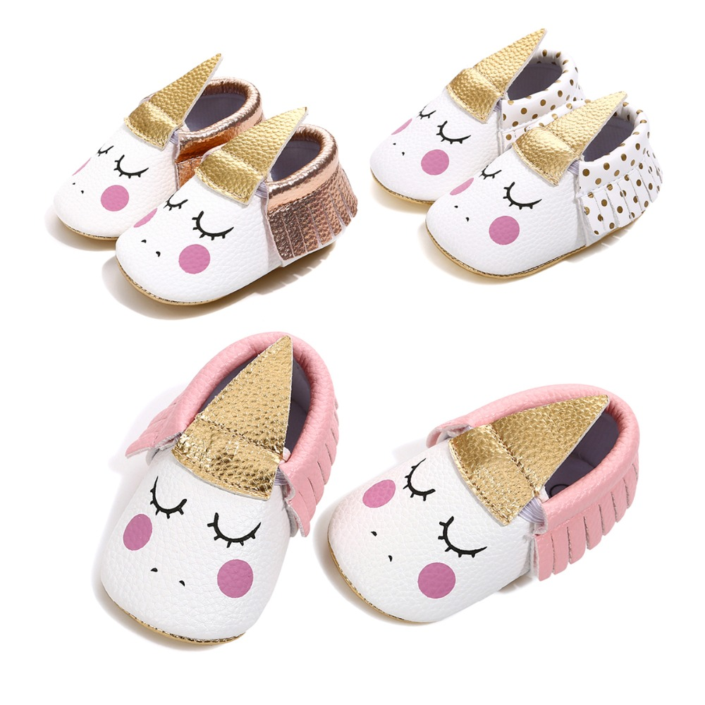 Lovely blush Angle Unicorn Baby shoes PU handmade custom party baby girl shoes toddler moccasins soft sole for first walkers