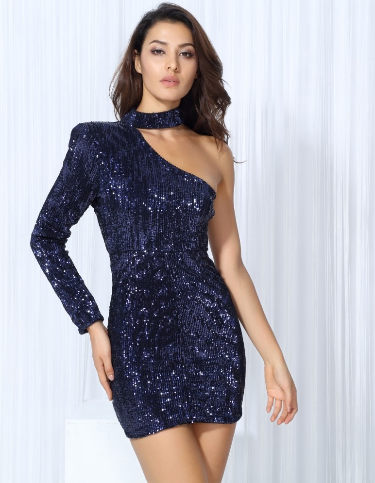 132ab1506e5c Navy Blue Sequin Dress Short One Shoulder Mini-in Dresses from Women s Clothing  on Aliexpress.com
