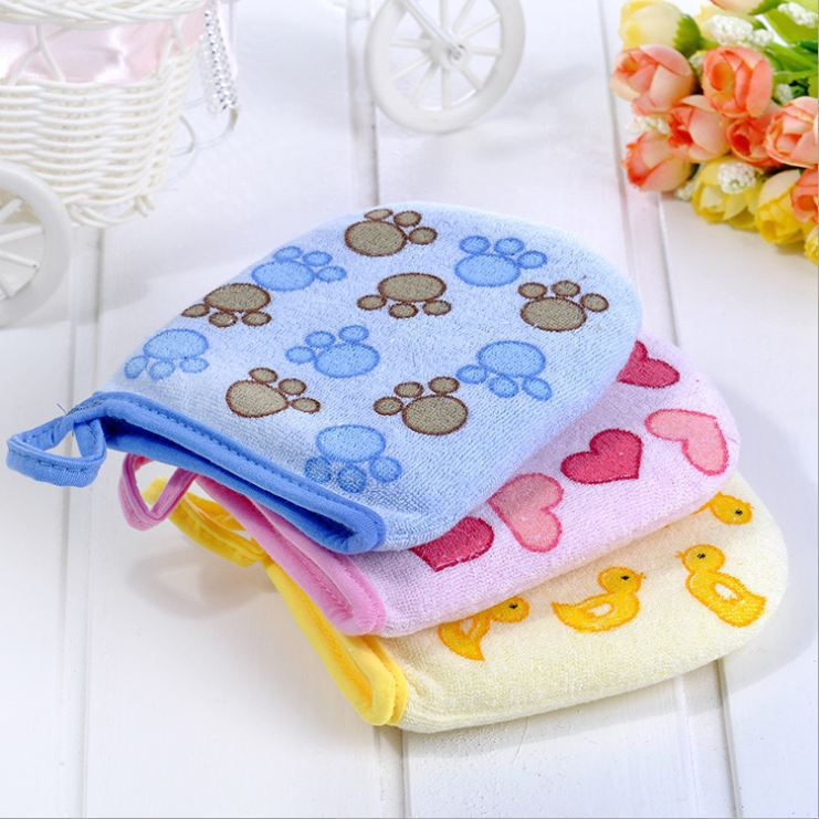 2018 Hot Sale 3 Styles Cartoon Design Soft Baby Bath Brush Newborn Baby Shower Glove kid necessary
