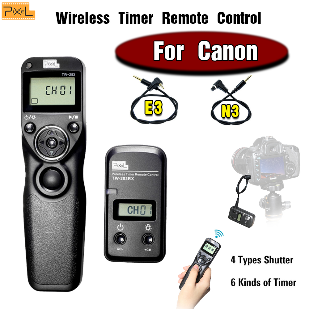 Pixel TW-283 Wireless Timer Remote Control Shutter Release Cable For Canon 60D 700D 650D 600D 550D 450D 400D 300D 1100D 1000D 5D