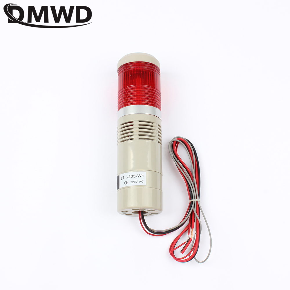 DMWD 110V 220V 12V 24V Safety Stack Lamp Red Green Yellow Industrial Tower Signal Light LTA-205 Red indicator light Always light