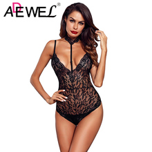 ADEWEL Floral Red Lace Choker Neck Bodysuit Women Backless Deep V Neck Sexy Bodysuit Bodycon Halter Sleeveless Jumpsuit Romper bodycon choker neck tube top
