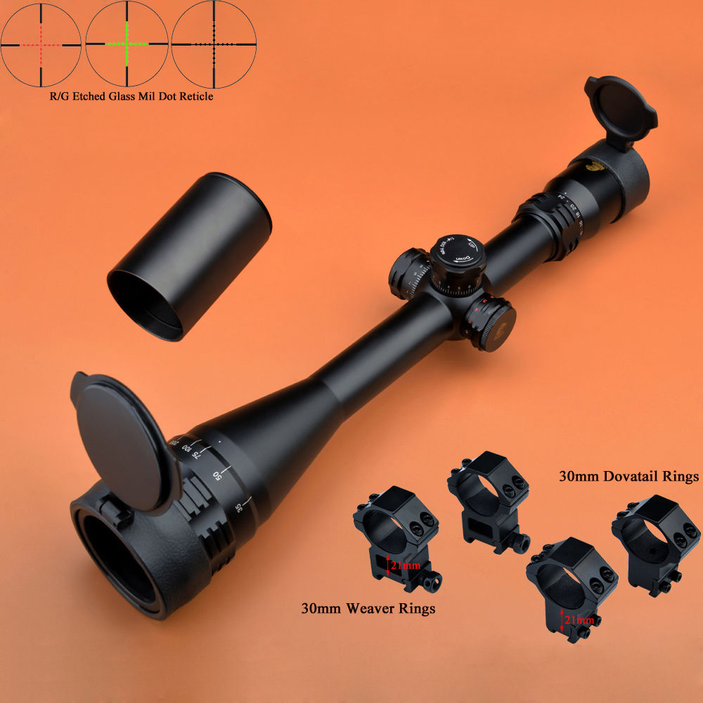 Eagle Eye Riflescope 6-24x50 AO R/G Hunting Scope Turrets With Lock Reset Glass Mil Dot Rifle Scope t eagle 6 24x50 sffle riflescope side foucs rifle scope with spirit level tactical long range rifles airsoft air gun