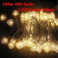 100 м 600 лампы светодиодные огни строки рождественские украшения сердце гирлянды Новый год Праздник свадьбу лампы освещения
