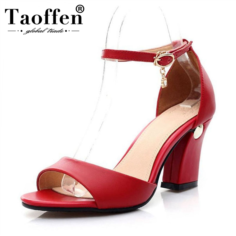 TAOFFENSize Women High Heel Sandals Genuine Leather Ankle Strap Thick Heel Women Shoes Classic Office Footwear
