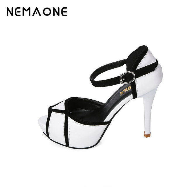 NEMAONE 2017 New summer Peep toe Ankle strap white Sweet Thick high heel  Sandals Platform Lady women shoes platform dfe8e86ac6b3