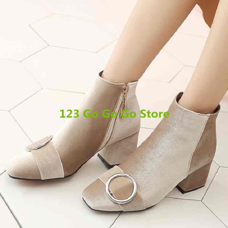 Square Toe Circle Metal Buckle Decor Women Short Boot Side Zip Design Women Ankle Boots Med Heel Luxury Brand Runway Star Shoe free shipping yacht winch boat winch barge winch 12v 2000lb electric winch