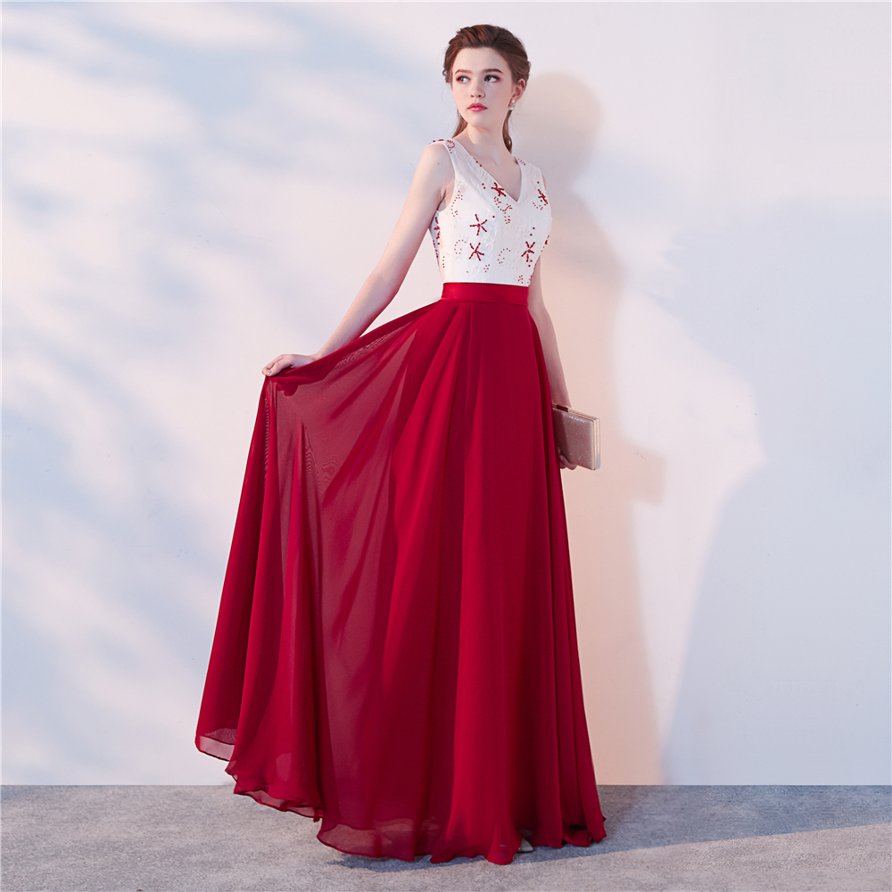 V Neck Evening Dresses Wine Red Chiffon Prom Gowns Evening Dress Plus Size