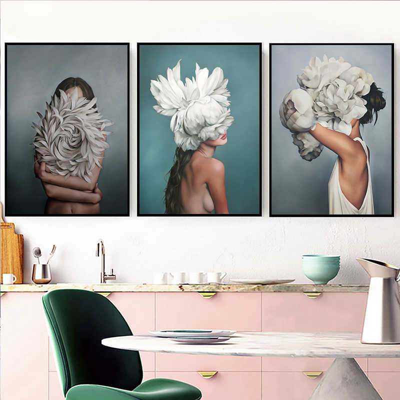 Abstract Flowers Avatar Girl Canvas Painting Print Poster Picture Wall Bedroom Living Room Dining Room Modern Home Decoration