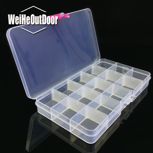 15 Compartments Transparent Visible Plastic Fishing Box Durable