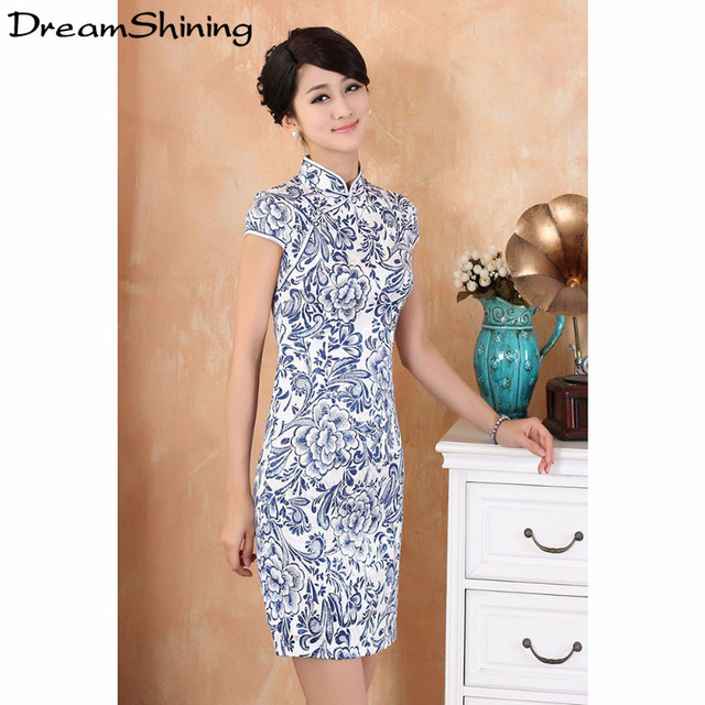 DreamShining 2016 New Fluid Systems Women Cheongsam Lady Chinese Style Vestido Female High Neck Bodycon Chi-pao Lover Home Party