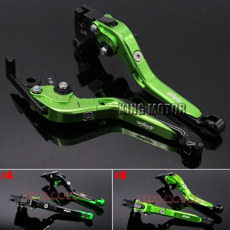 ФОТО For KAWASAKI Z250 Z300 2013-2015 Motorcycle Accessories CNC Folding Extendable Brake Clutch Levers LOGO Ninja