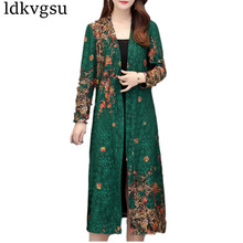 Fashion 2019 New Spring Autumn Long Trench Coats Women Large Size 5XL National Wind Middle-aged Cardigan Shawl Coats V555